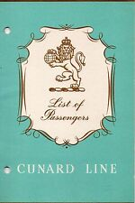Cunard Line RMS CARINTHIA  June 30, 1961 Passenger List – Montreal to Liverpool