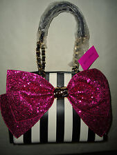 BETSEY JOHNSON BOW-LESQUE STRIPE FUCHSIA SEQUIN BLING SATCHEL TOTE BAG PURSE NWT