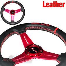 JDM DRIFTING Style LEATHER 6 Bolt 3 Spoke Racing Steering Wheel RED Stitch RED