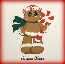 Gingerbread Man Candy Cane Christmas premade paper piecing for scrapbook card