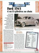 Ford Club Coupe Super Deluxe  V8 1941 USA Car Auto Retro FICHE FRANCE