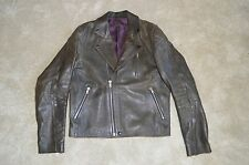 Acne Studios Gasoline Black Leather Zip Biker Jacket Coat Mens Size 52 / 42 / XL