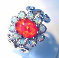 **NEW**FABULOUS WHITE/RED 11 STONE FIRE OPAL RING  UK SIZE  R 1/2