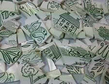 Green White Hand Cut Mosaic China Tiles Amish Farm Country Scene Cow Chicken