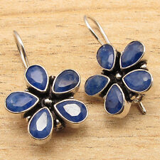925 Silver Overly CHRISTMAS Gift Jewelry, Rare SAPPHIRE FLOWER STYLE Earrings
