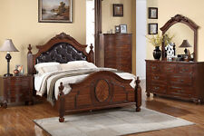 NEW 4PC ANDROS TRADITIONAL BURNISHED CHERRY FINISH WOOD POST QUEEN BEDROOM SET
