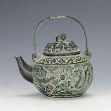 Chinese Antique Bronze Hand Carved Dragon & Phoneix Pattern Teapot gd6996