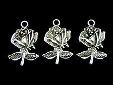 10 Pcs Tibetan Silver Rose Pendant Charm Jewellery Craft Flowers Beading A134