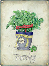 New 15x20cm Parsley herb pot vintage enamel style tin metal advertising sign