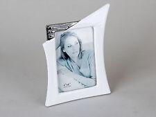 Moderner Bilderrahmen Fotorahmen aus Keramik in edelweiss/silber 10x15 cm