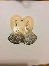 $58 Brighton Trillion Silver Plated French Wire & Crystal Hook Earrings BR 4