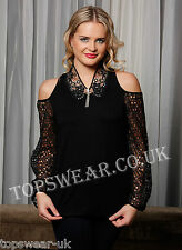 Women Black Cotton and Lace Cut Out Shoulder Top  Ladies Cut Out Shoulder Top