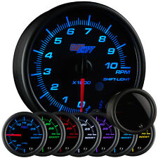 95mm GlowShift Tinted 7 Color In Dash Tachometer Gauge w Shift Light - GS-T716