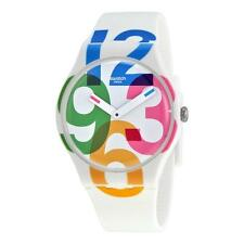 New Swatch Women White Silicone Colorful Numbers Watch 42mm SUOW117 $70