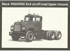 "Mack r685rsx 6 X 4 On/off Road Volcador Truck ventas UK ""Folleto"" / Hoja Finales 70's?"