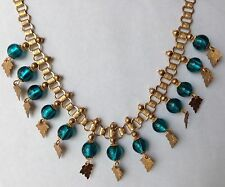 MIRIAM HASKELL SIGNED DANGLING BLUE FOIL GLASS BEAD & LEAF BOOK CHAIN NECKLACE