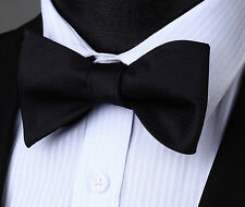 BS704L Black Houndstooth Bowtie Men Cotton Party Classic Wedding Self Bow Tie