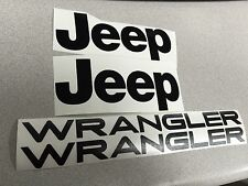 Set of Jeep Wrangler Replacement Vinyl Stickers Decals YJ TJ  Black Set