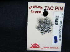 Sterling Silver Tac Pin Snowflake Swarovski Crystals Center New on card.