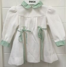 Baby Girls Size 0-1 Vintage 70's Dress White Green EUC Party Photo Winter French