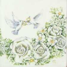 4x Single Table Party Paper Napkins for Decoupage Craft Romantic Wedding Love