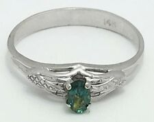 Genuine Alexandrite 0.21 Cts Solitaire 14k White Gold Ring