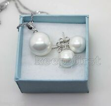 Pretty 14mm White shell pearl 10mm Sterling Silver Stud earrings and Pendant