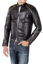 Dsquared2 Black Leather Biker Jacket IT50-52 Dsquared New