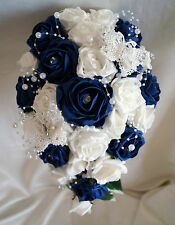 Brides,Bridesmaids Wedding Bouquet Flowers  Navy/Ivory or White with.butterflies
