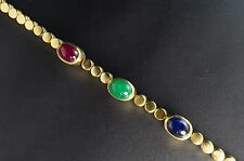 14K Yellow Gold Emerald Sapphire Ruby Cabochon Retro Mid-Century Bracelet 7""