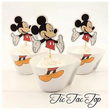 12 pcs Mickey Mouse Cupcake Toppers + Wrappers. Party Boy Jelly *SUPERB QUALITY*