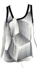 JEAN PAUL GAULTIER Black & White Striped Silk Jersey Tank Top XL