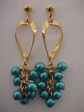 Aqua Bead Bunch Earrings Gold Loop Pierced Earrings Neon Aqua 2-1/4""