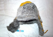 Men's & kid's yellow hat with rabbit fur - for rain, snow, skiing and snowboard