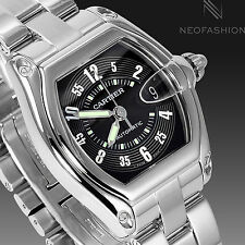 CARTIER ROADSTER AUTOMATIC 2510 SS BEAUTIFUL RARE BLACK DIAL MENS WATCH W62002V3
