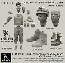 Live Resin 1/35 LRM-35006 USMC Soldier for MCTAGS and LAV-25 Turrets (No Box)