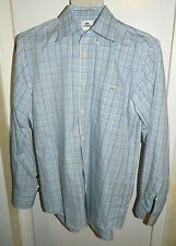 Lacoste $145 Spring Blue Check Plaid Cotton Casual Shirt Men's Size 40 M Medium
