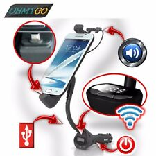 Car Phone Holder Mount with USB Charger Handsfree FM Transmitter Stand Cradles