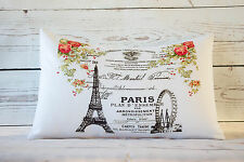 "Floral Paris Ad - 12 x 18 "" lumbar style cushion cover shabby vintage chic"
