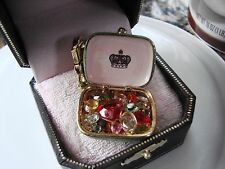 Juicy Couture Charm Bracelet Mint Tin with Gems Charm w/ gold clip NWT