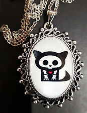 Skelanimals KIT Antique Silver Pendant Necklace Goth Steampunk Kitty Cat Pussy
