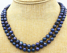 Beautiful 2 row 7-8mm Black akoya Tahiti  Freshwater Pearl Necklace 17-18""