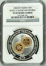 2004 Russia Gold-Silver Bimet 3 Roubles Peter the Great Monetary Reform NGC PF69