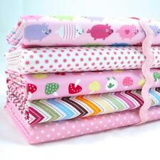 FQ BUNDLES - RAINBOW PIGGIES  - PINK - 100% COTTON FABRIC NURSERY CHILDREN PIGS