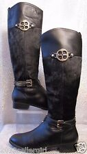 IMAN ICONIC BLACK LEATHER PONY HAIR KNEE HIGH LOGO WESTERN RIDING BOOTS SZ 11M