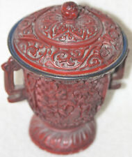 Chinese Late Qing (1870s-1880s) Red Lacquer Victorian/Chinese Design Lidded Bowl