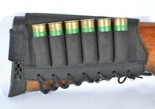 Retro Hunting Shotgun Shell Holder 6 Shell Cartridge Ammo Black Leather 12 GA