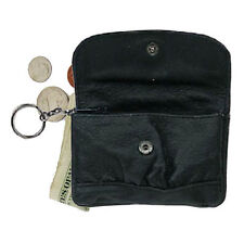 Black Leather Men Women Zip Coin Change Holder Flap Snap Zip Key Ring Purse New