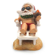 Hawaiian BEACH CHAIR SANTA w/ Coconut Cocktail Handpainted Xmas ORNAMENT Hawaii