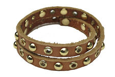 Linea Pelle Leather Double Wrap Bracelet Stud and Grommet Cognac Tan